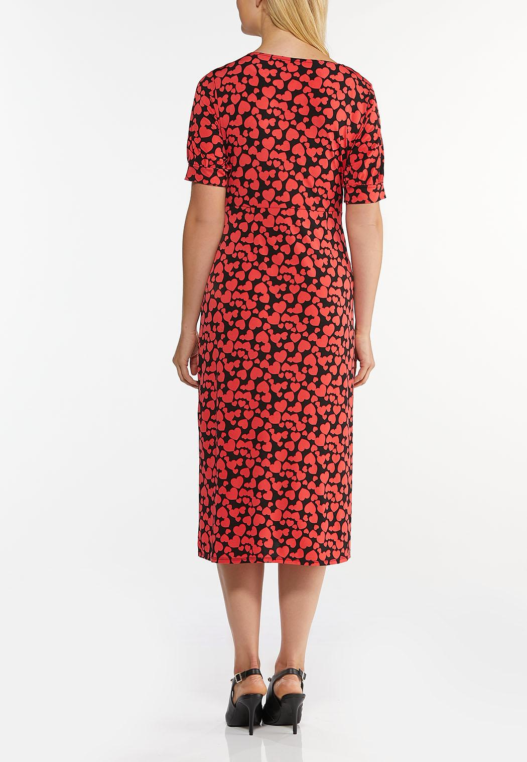 Plus Size Heart Print Midi Dress (Item #44466326)