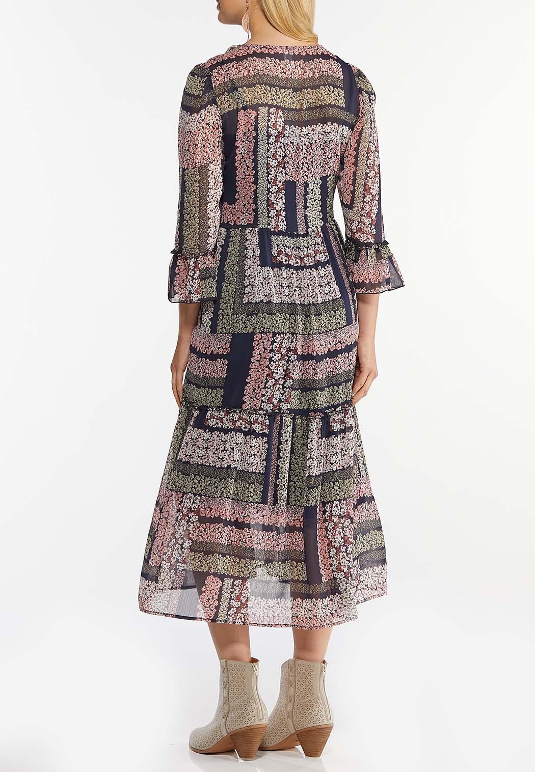 Plus Size Ruffled Patchwork Midi Dress (Item #44466695)