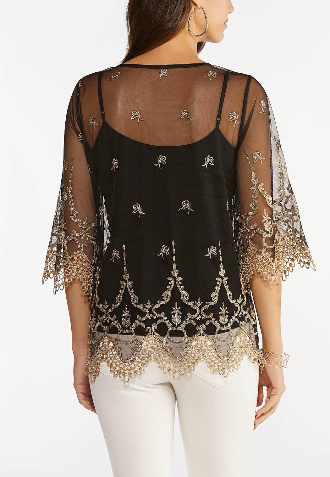 Gold Embroidered Mesh Top (Item #44466805)