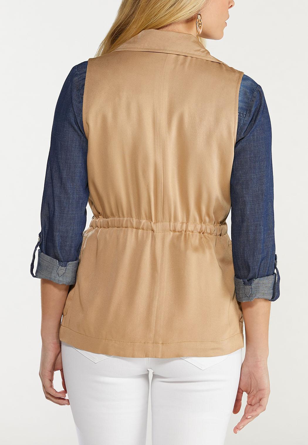 Plus Size Cinched Waist Utility Vest (Item #44466855)