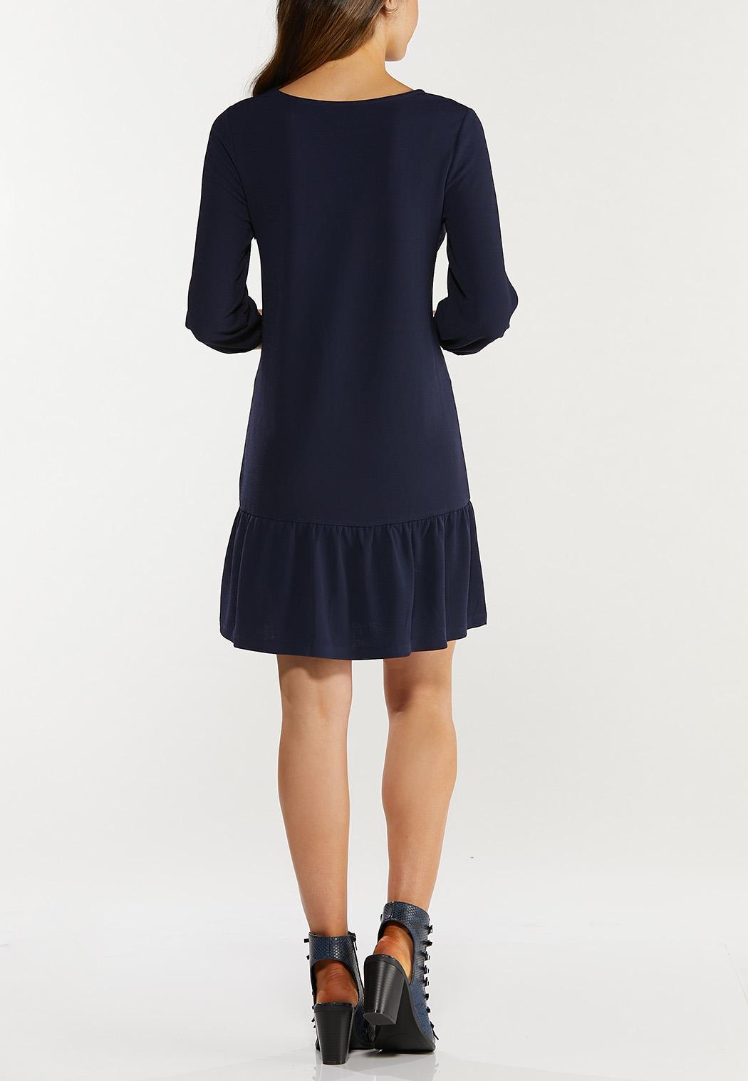 Navy Flounced Hem Dress (Item #44467202)