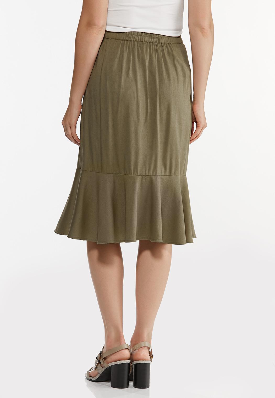 Plus Size Flounced Button Front Skirt (Item #44467377)