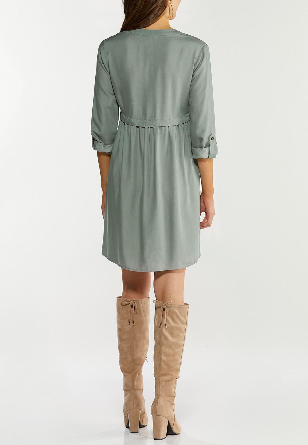 Plus Size Button Front Babydoll Dress (Item #44467401)