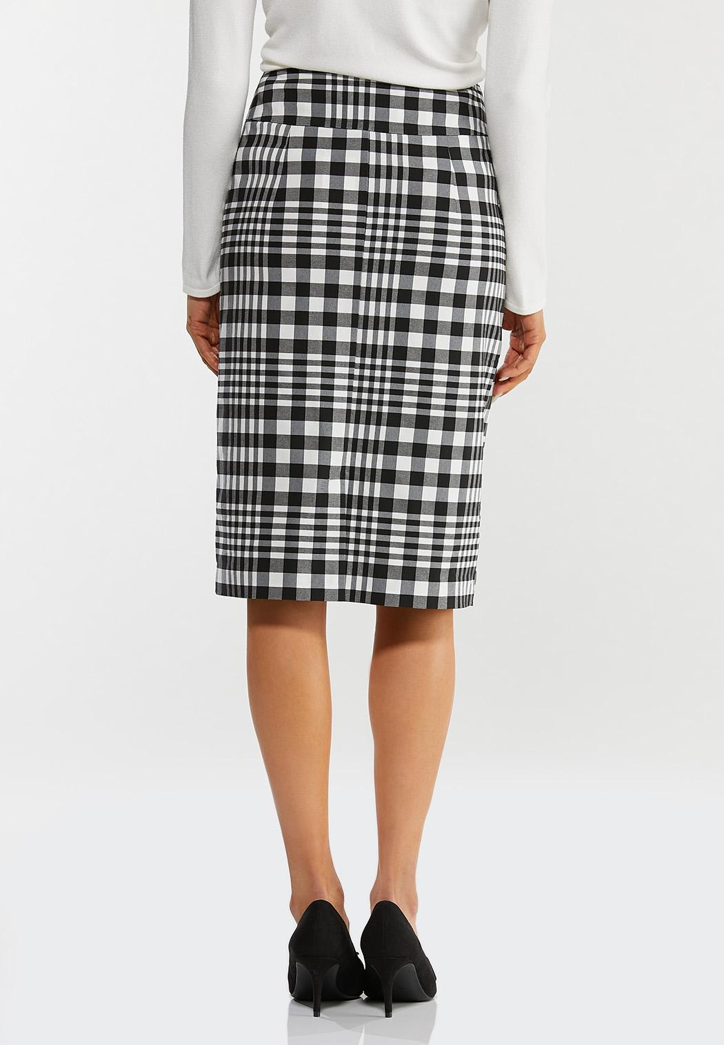 Plus Size Plaid Pencil Skirt (Item #44468448)