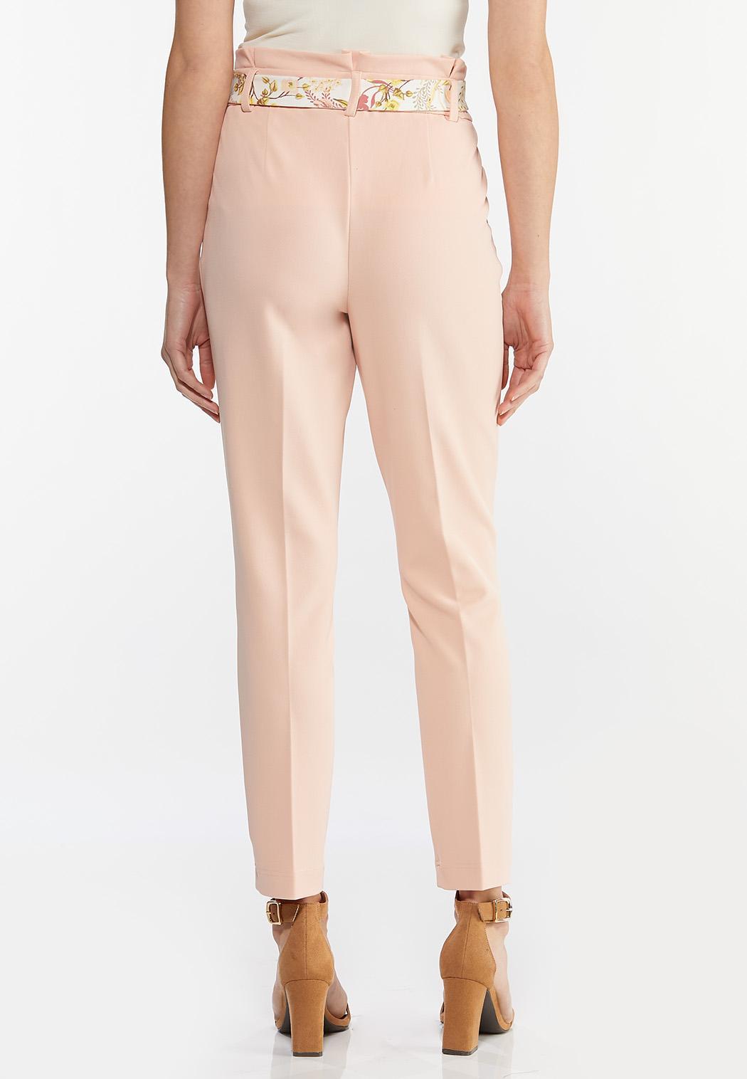 Petite Floral Belted Slim Pants (Item #44468565)