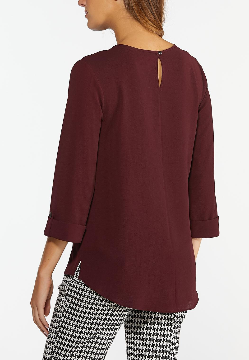 Plus  Size Solid Front Pocket Top (Item #44468624)