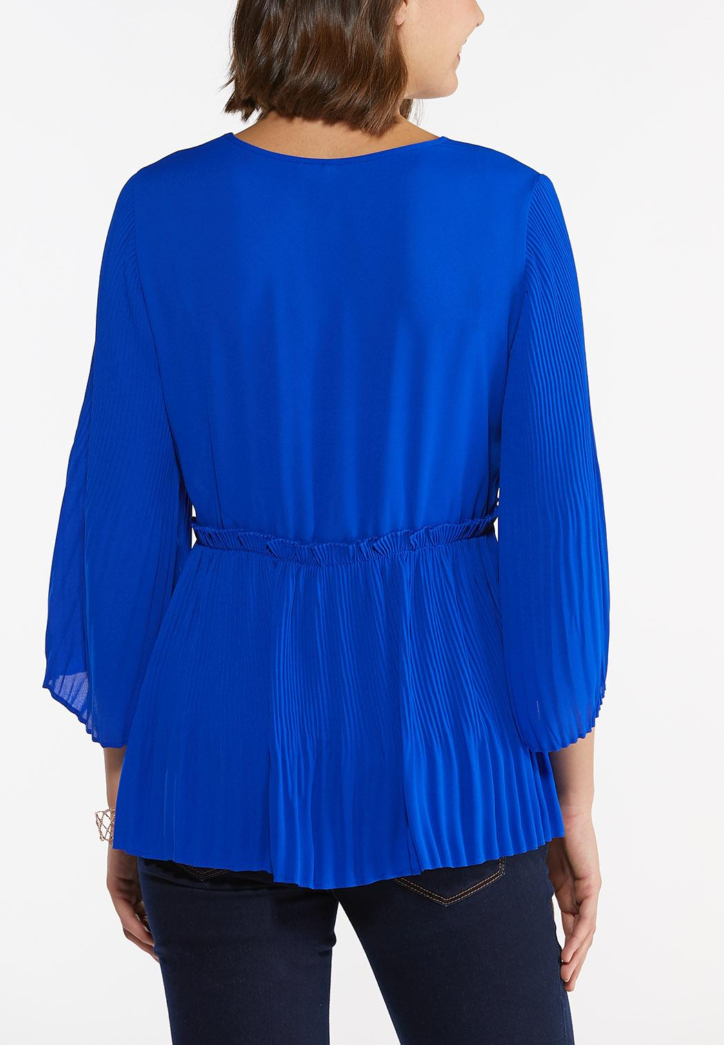 Plus Size Blue Pleated Babydoll Top (Item #44468784)