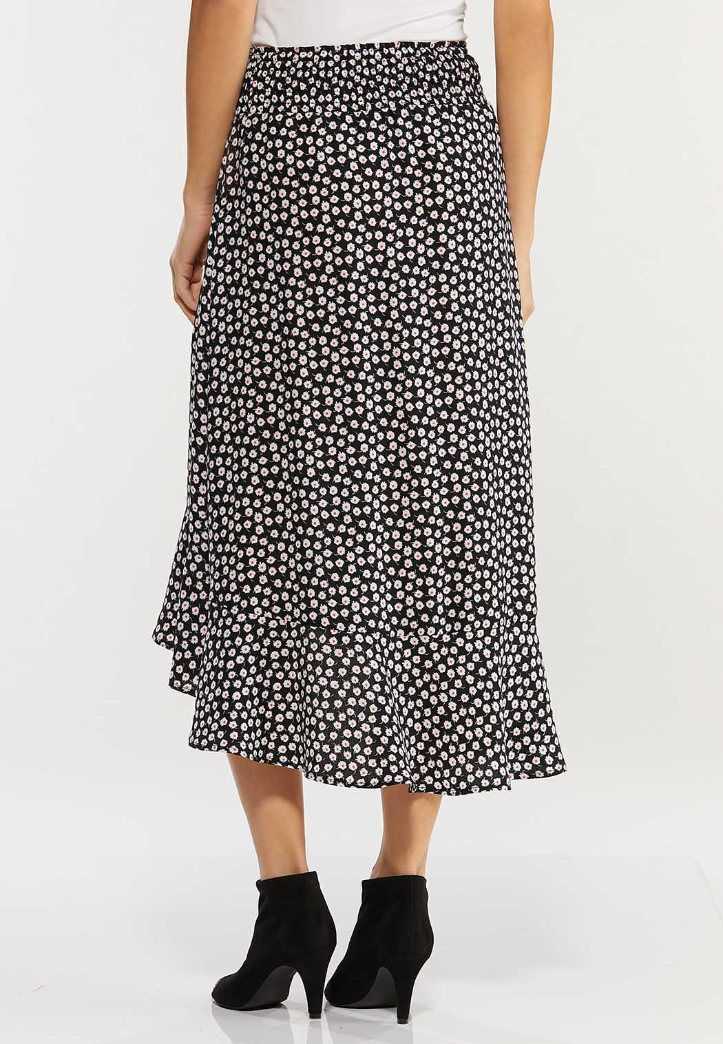 Plus Size Daisy Floral Midi Skirt (Item #44468871)