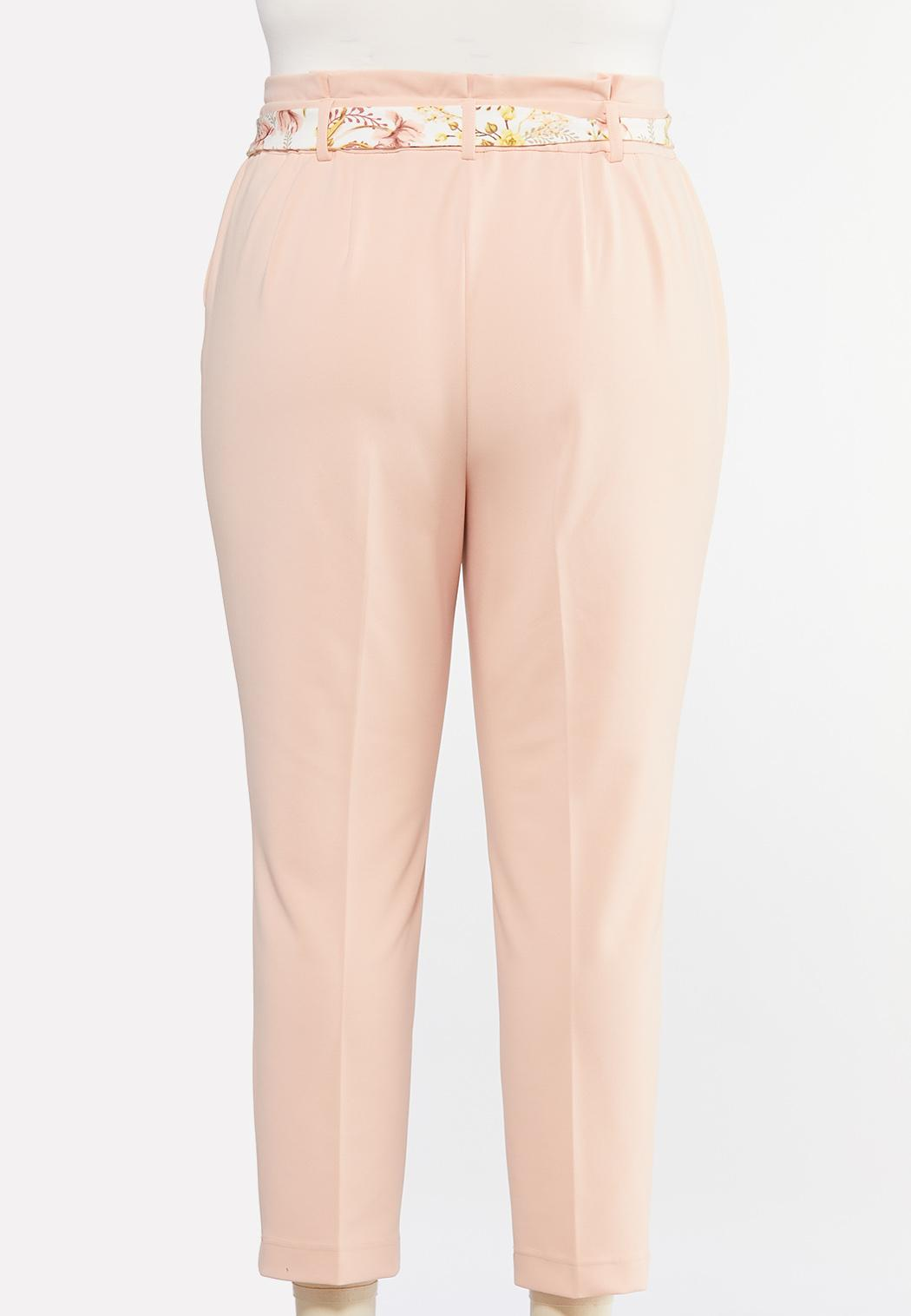 Plus Size Floral Belted Slim Pants (Item #44469103)