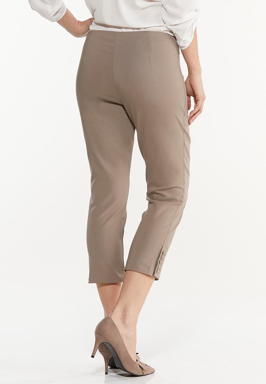 Button Hem Cropped Bengaline Pants (Item #44469153)