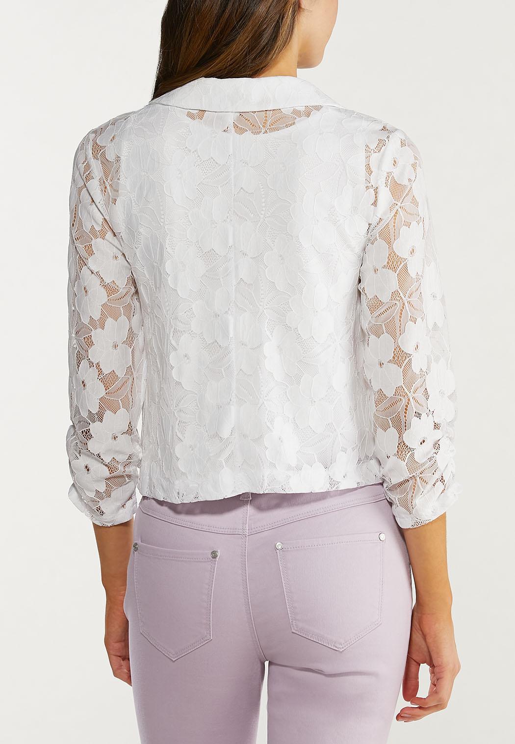 Plus Size Cropped Lace Jacket (Item #44469265)
