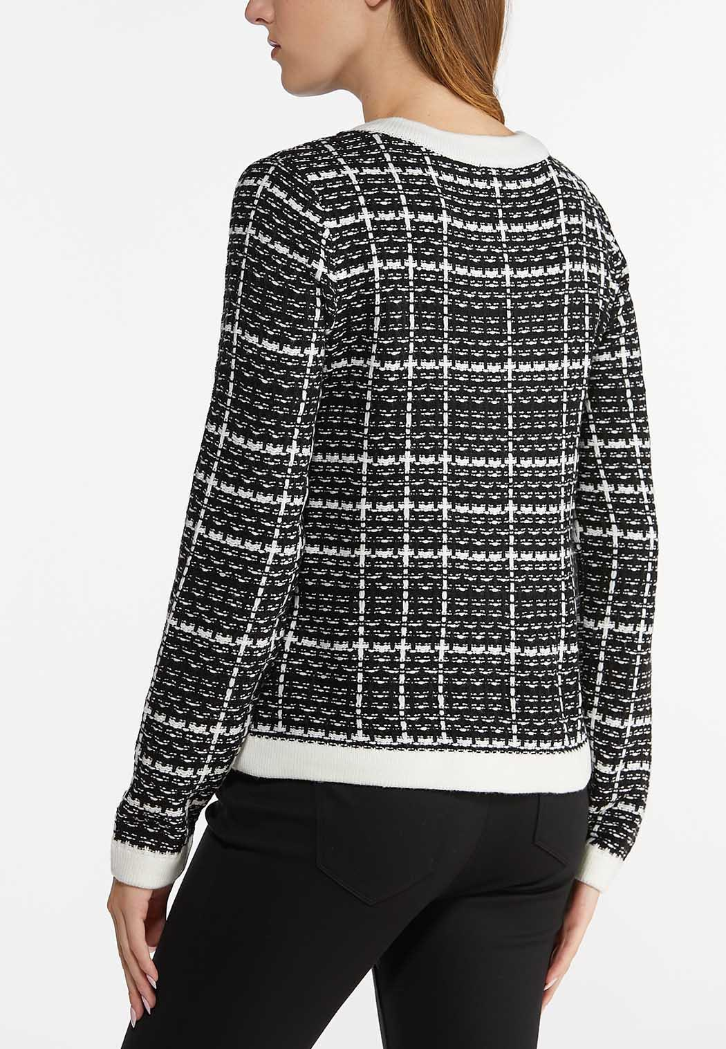 Checkered Pearl Button Sweater (Item #44469339)