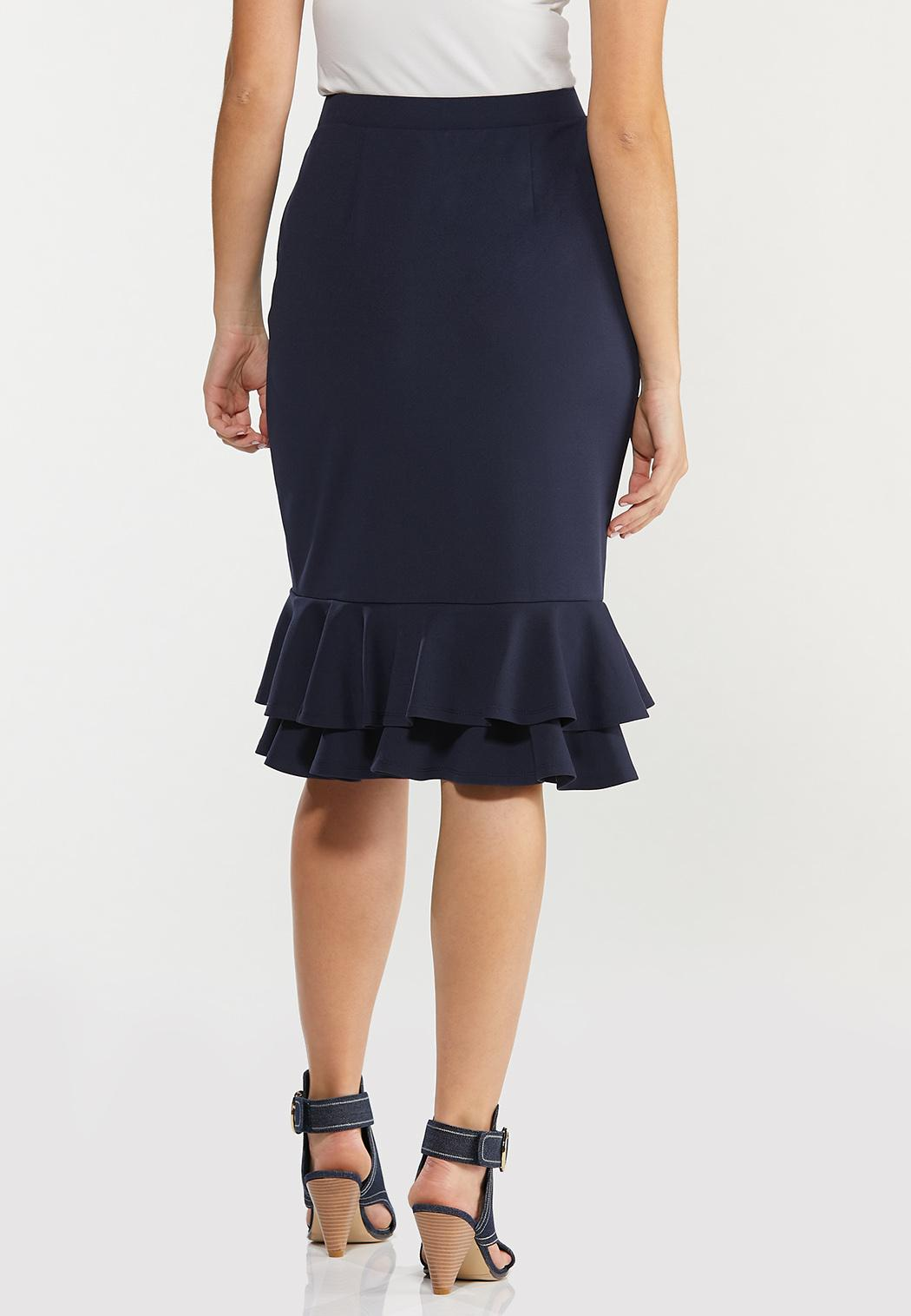 Plus Size Solid Double Ruffle Skirt (Item #44469350)