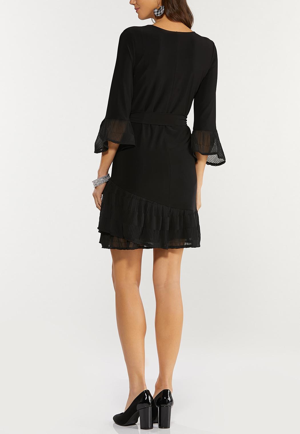 Plus Size Pleated Chiffon Trim Dress (Item #44469390)