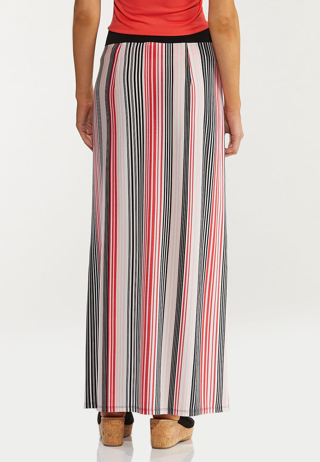 Plus Size Melon Stripe Maxi Skirt (Item #44469398)