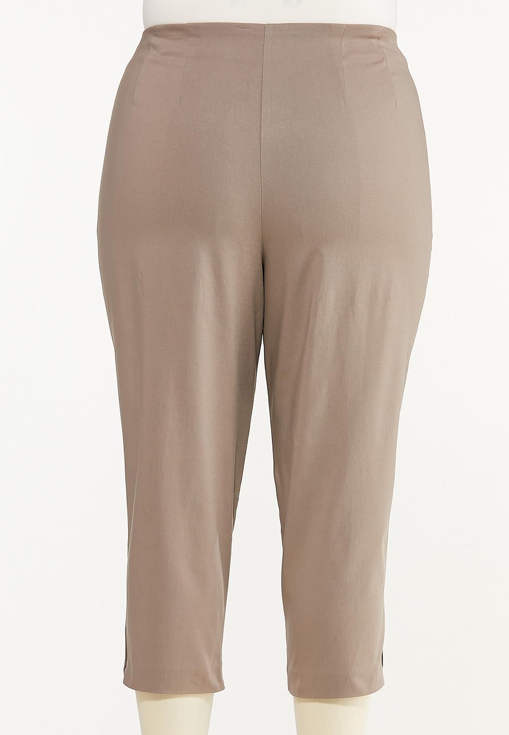 Plus Size Button Hem Cropped Bengaline Pants (Item #44469439)
