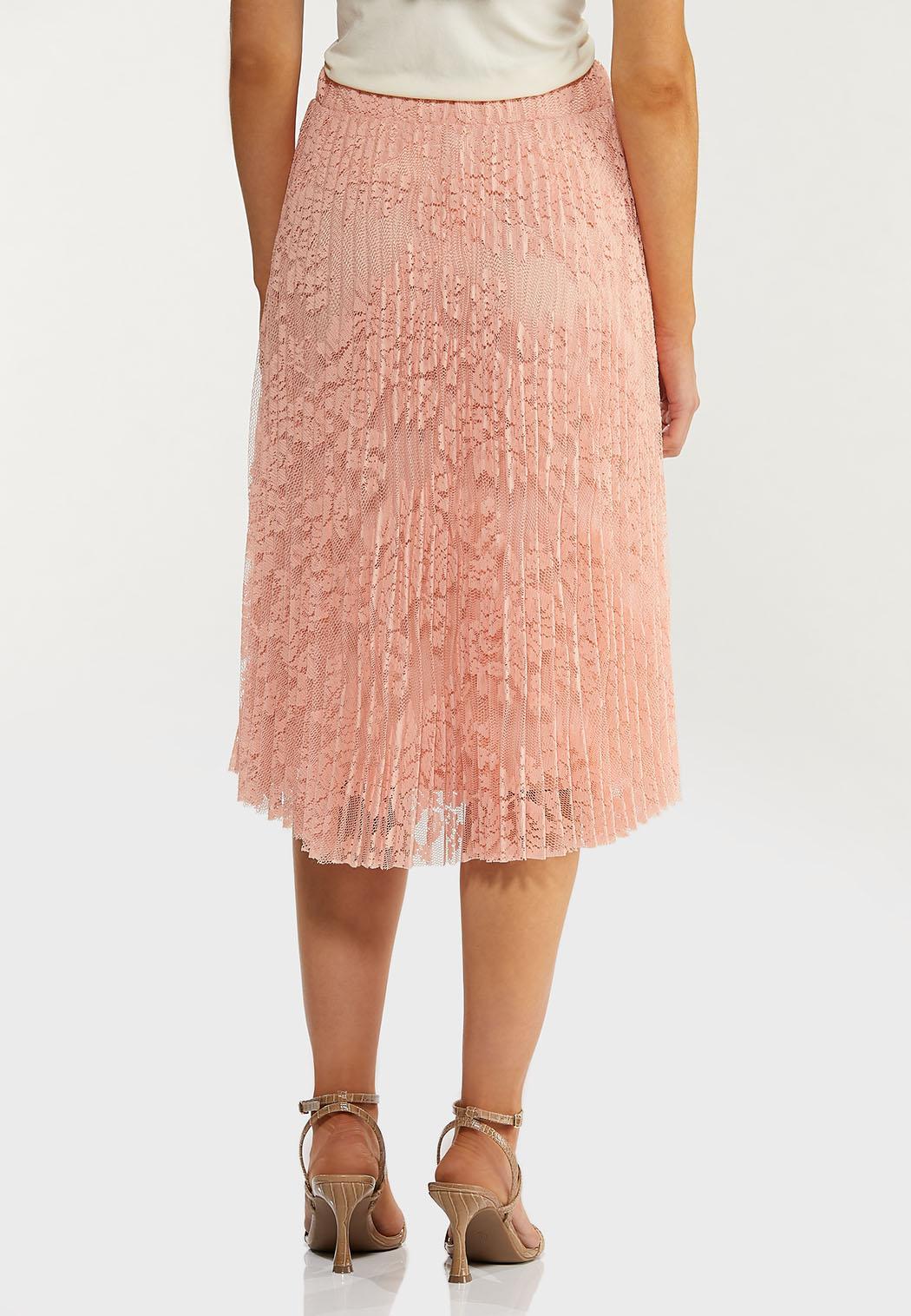 Plus Size Pleated Lace Midi Skirt (Item #44469492)