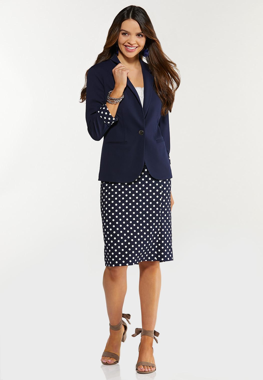 Plus Size Navy Polka Dot Pencil Skirt (Item #44469688)