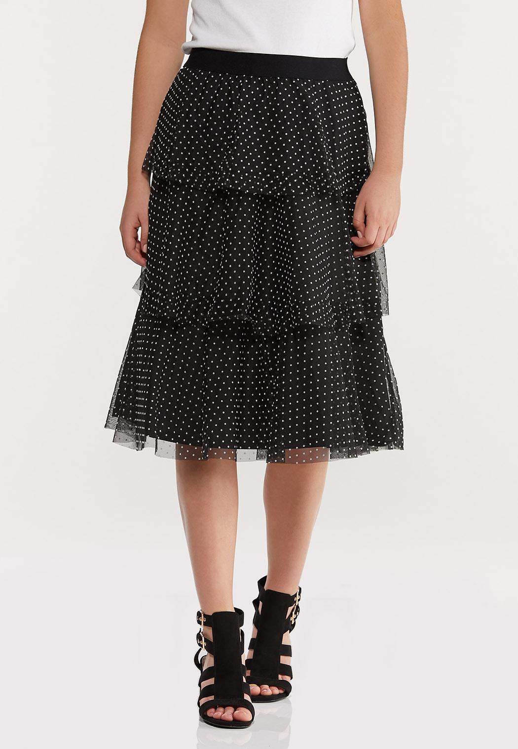 Plus Size Tiered Polka Dot Skirt (Item #44469732)