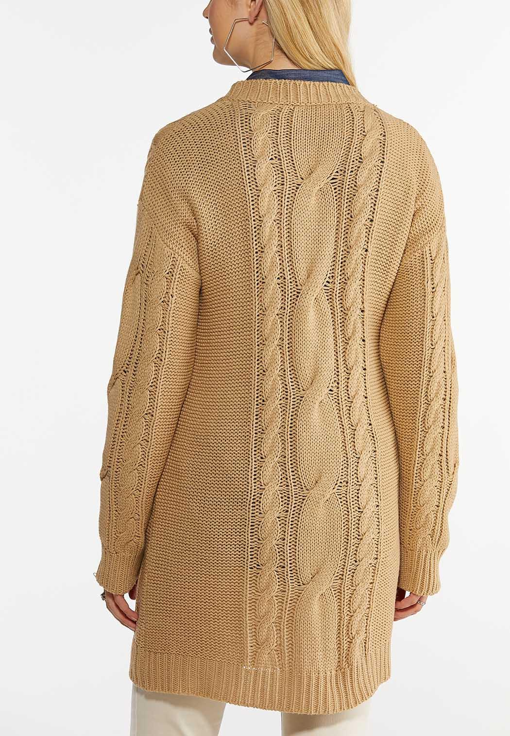 Plus Size Relaxed Cable Knit Cardigan Sweater (Item #44469793)
