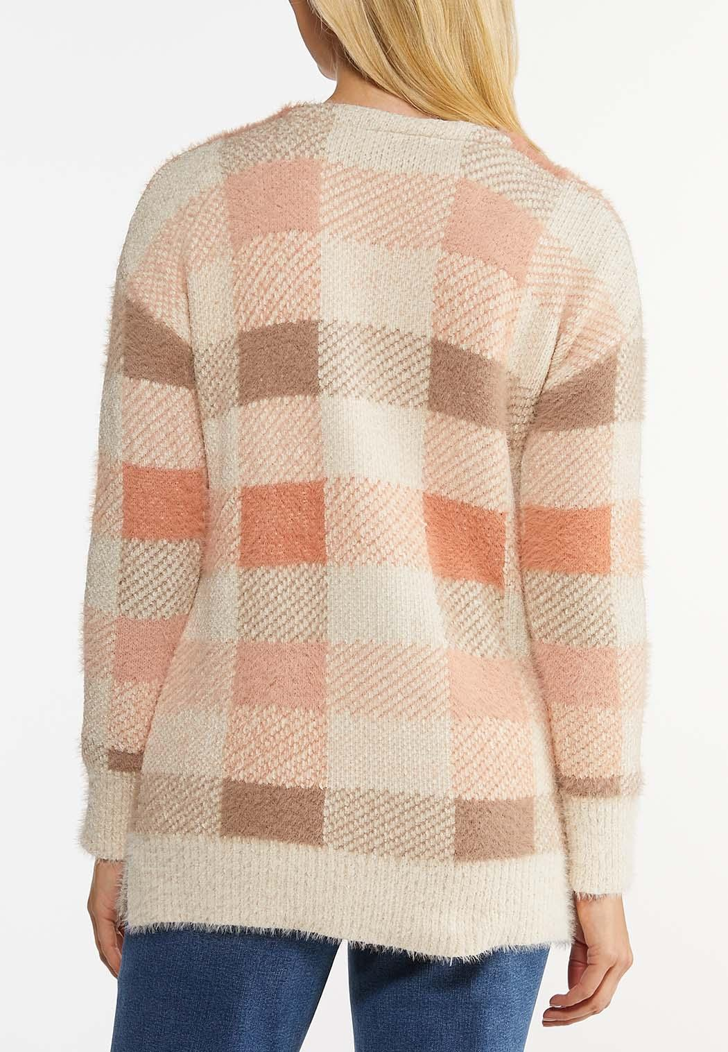 Pink Plaid Cardigan Sweater (Item #44469859)