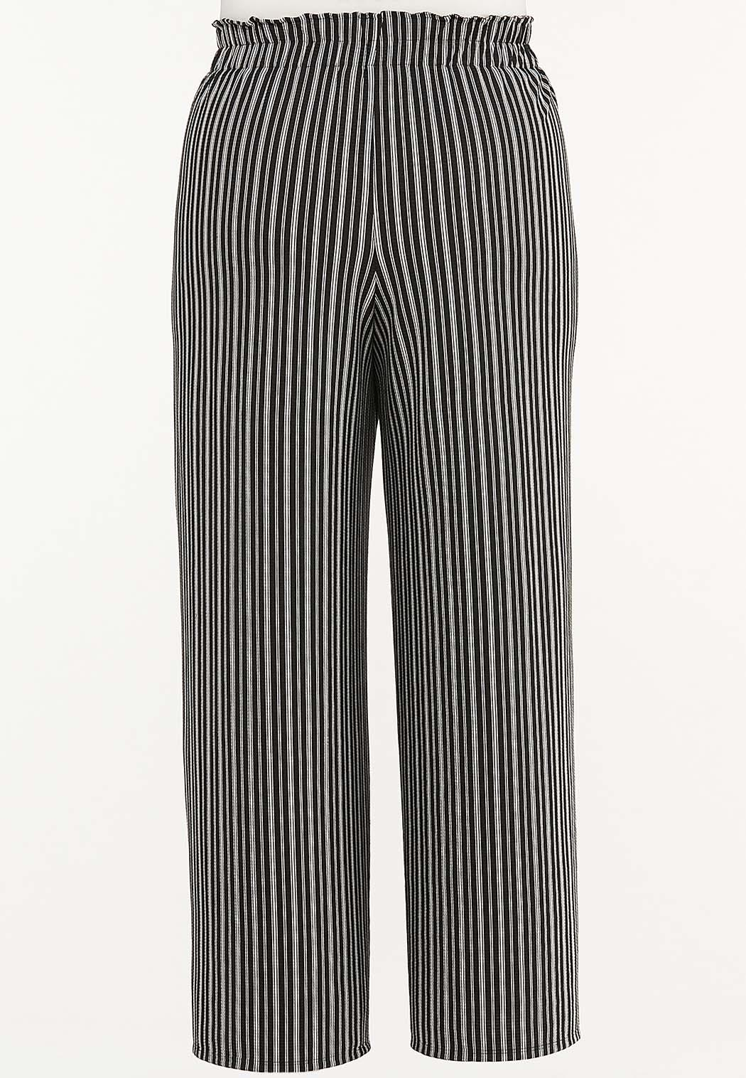 Plus Size Textured Stripe Pants (Item #44470010)