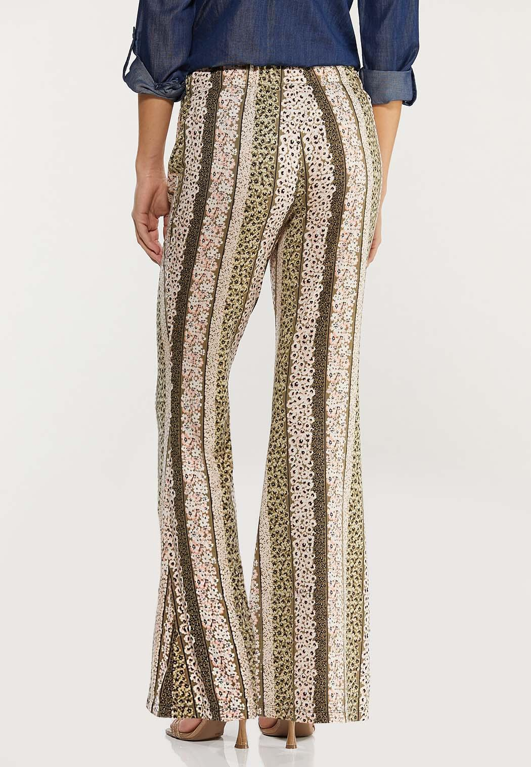 Stripe Floral Flare Pants (Item #44470180)