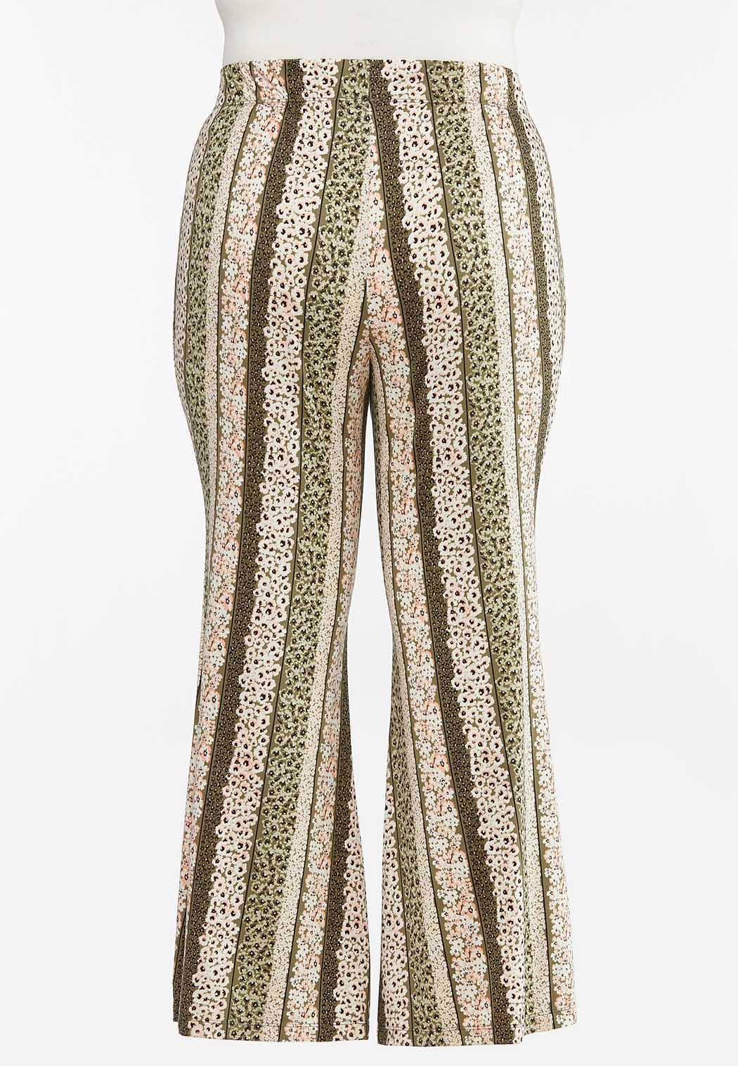Plus Size Stripe Floral Flare Pants (Item #44470228)