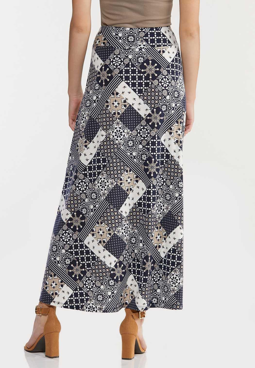 Plus Size Navy Patchwork Maxi Skirt (Item #44470605)