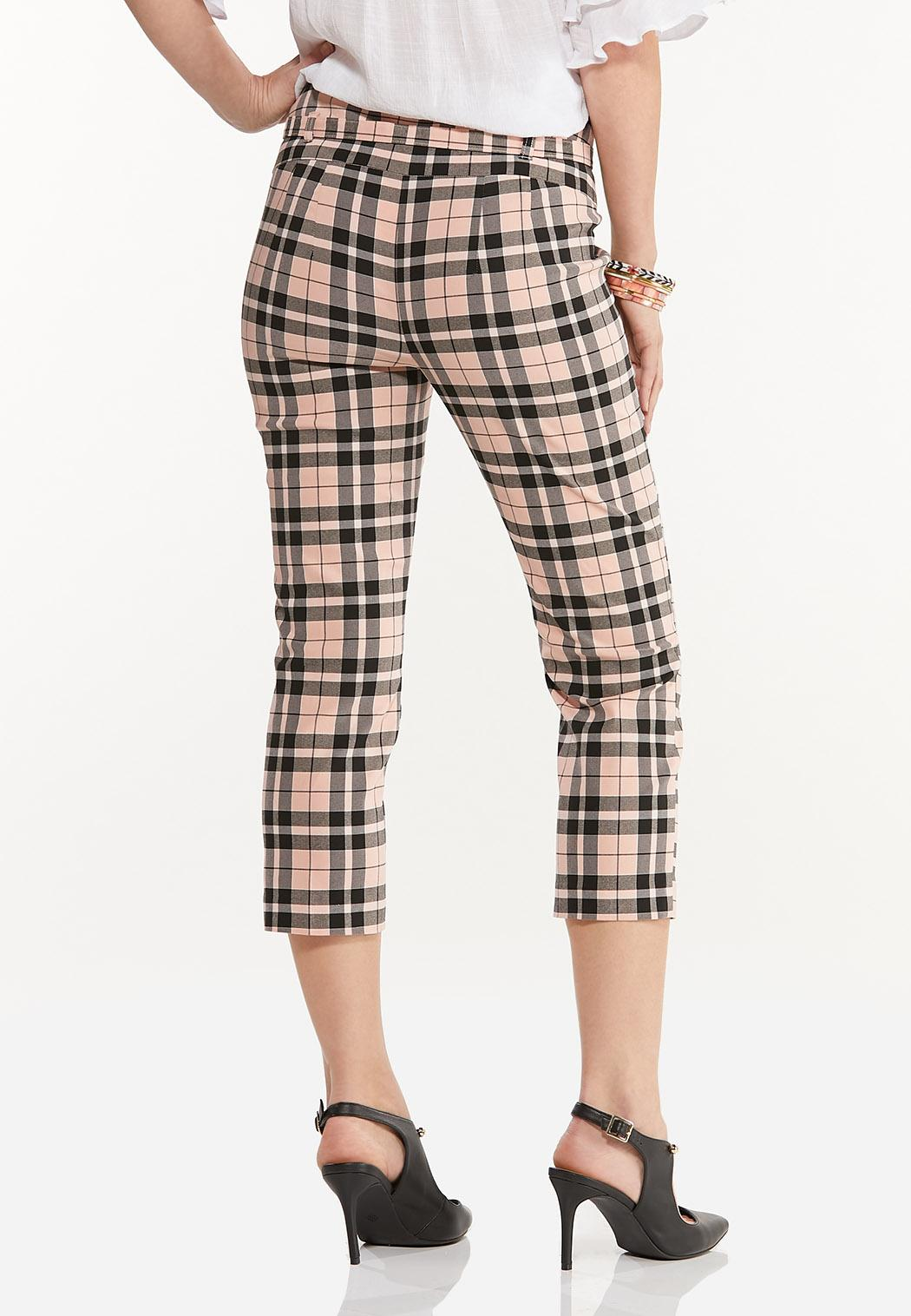 Pink Plaid Cropped Bengaline Pants (Item #44470692)