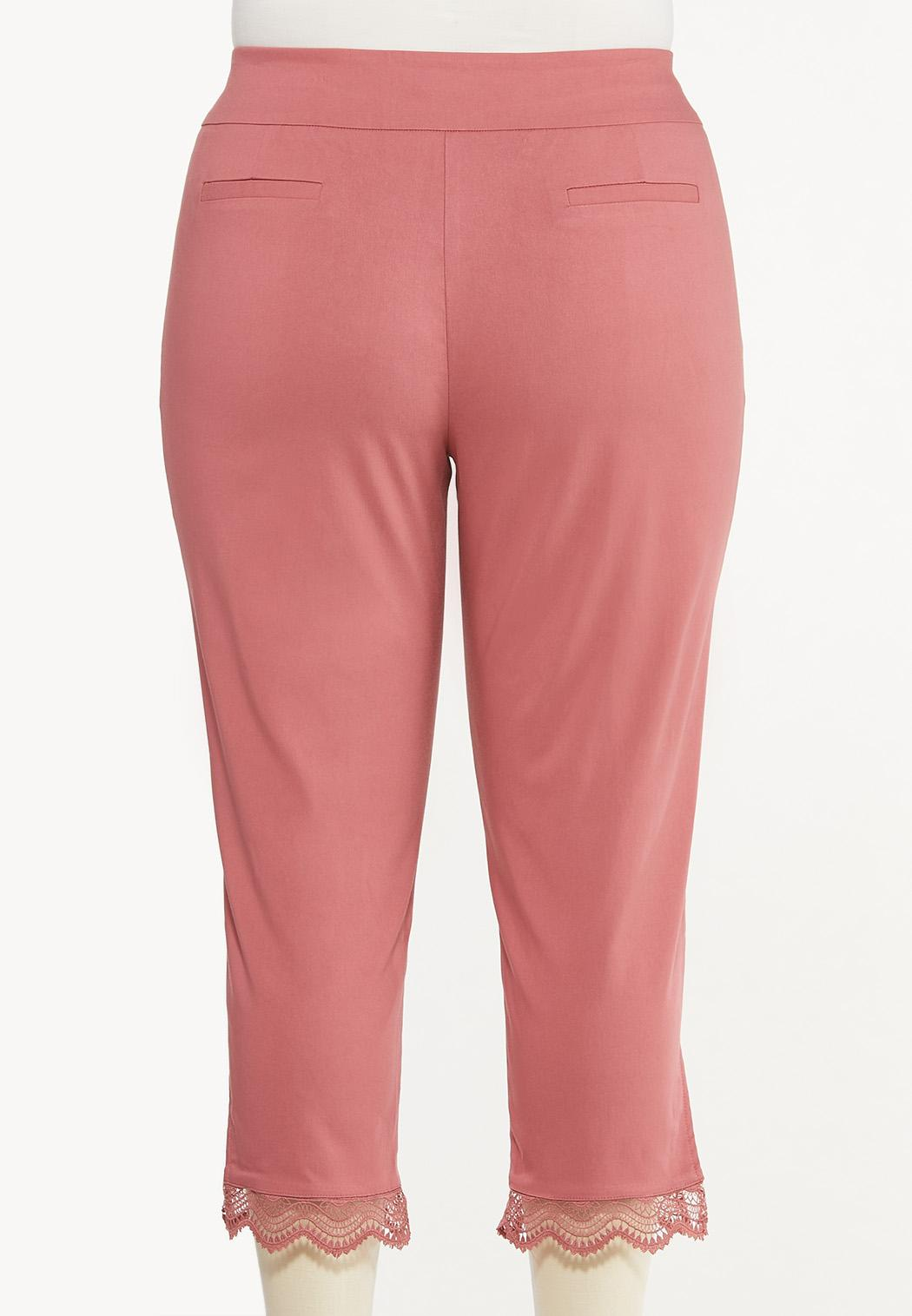 Plus Size Cropped Crochet Bengaline Pants (Item #44470706)