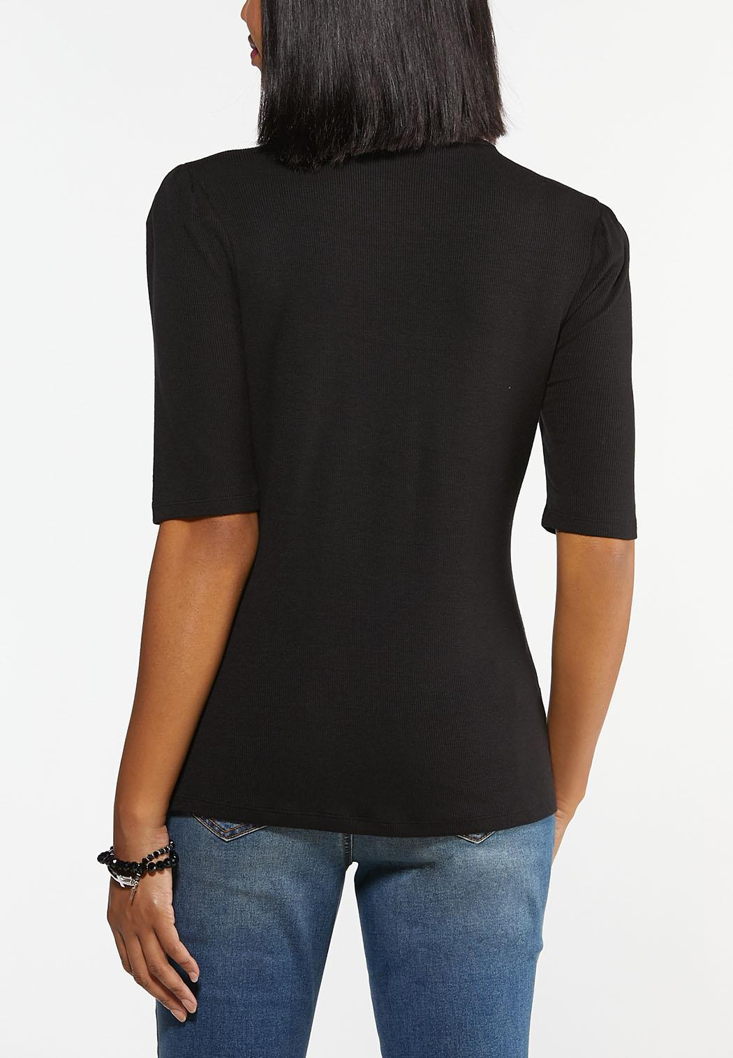 Puff Sleeve Mock Neck Top (Item #44471939)