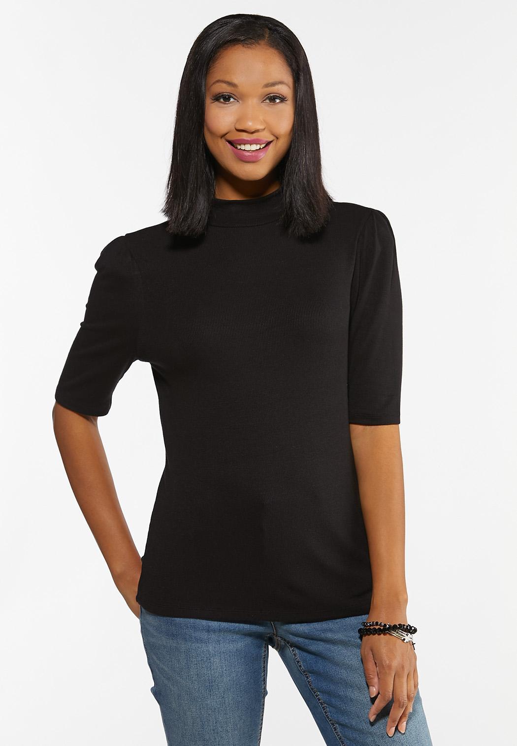 Plus Size Puff Sleeve Mock Neck Top (Item #44471999)