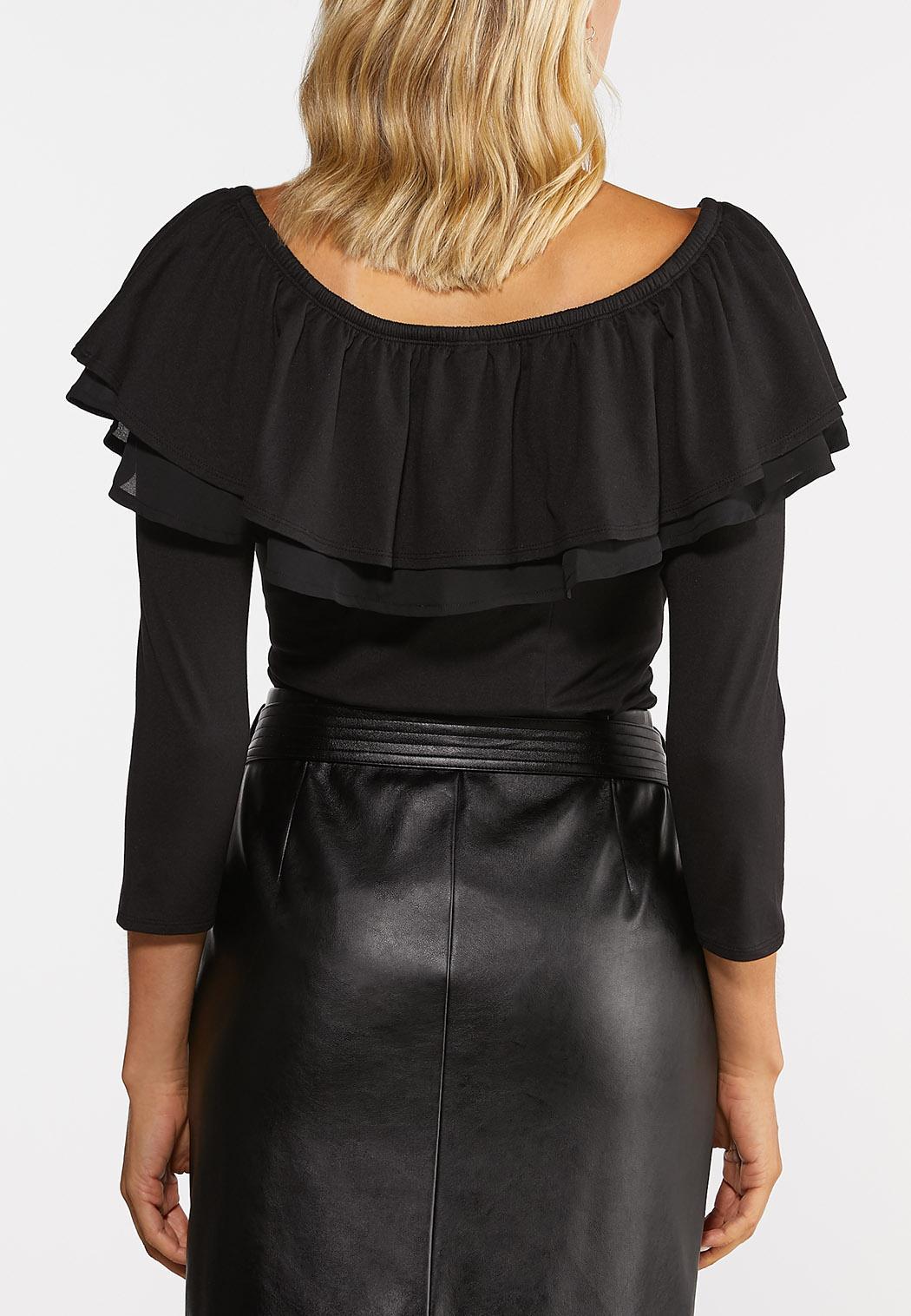 Plus Size Ruffled Off Shoulder Bodysuit (Item #44472043)
