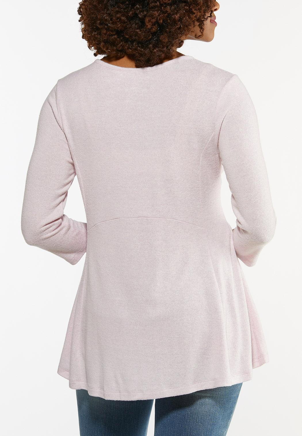 Plus Size Lavender Babydoll Hacci Top (Item #44472096)