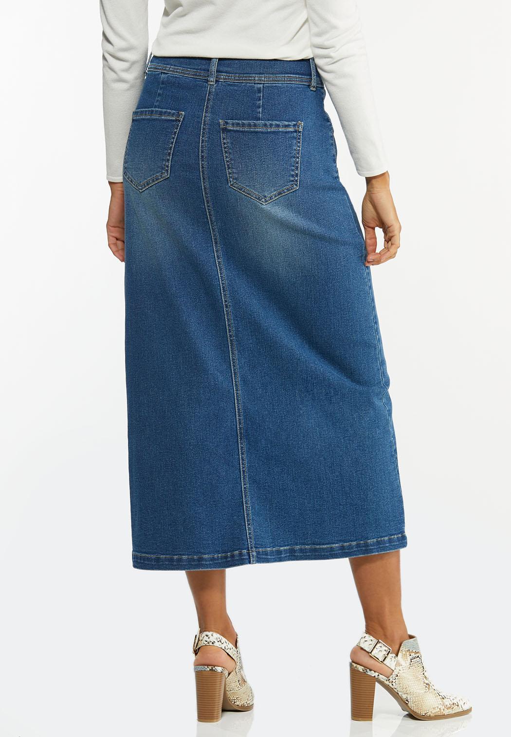 Button Front Denim Skirt (Item #44472274)