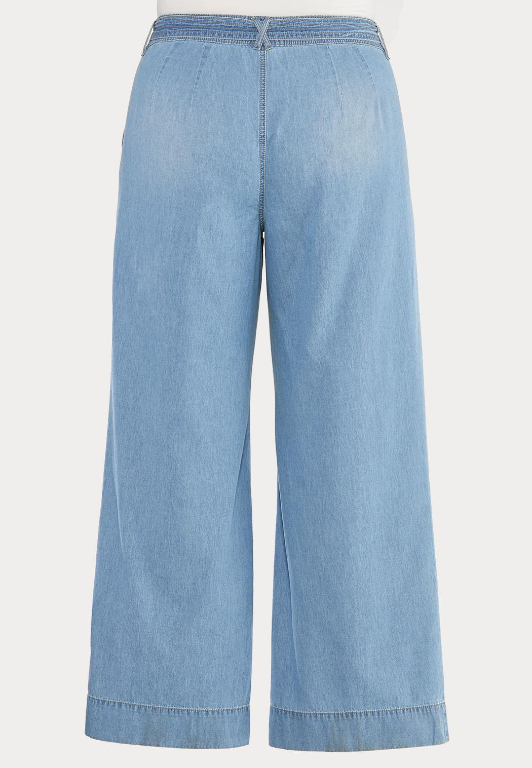 Plus Size Belted Light Wash Jeans (Item #44472893)