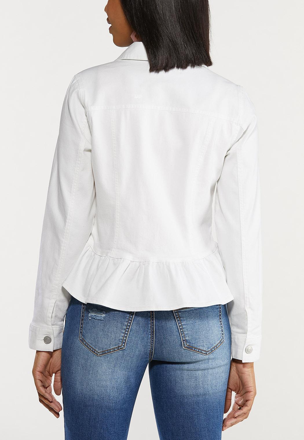 Plus Size White Peplum Denim Jacket (Item #44473006)