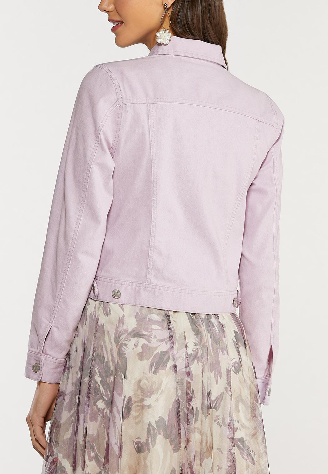 Plus Size Lavender Denim Jacket (Item #44473089)