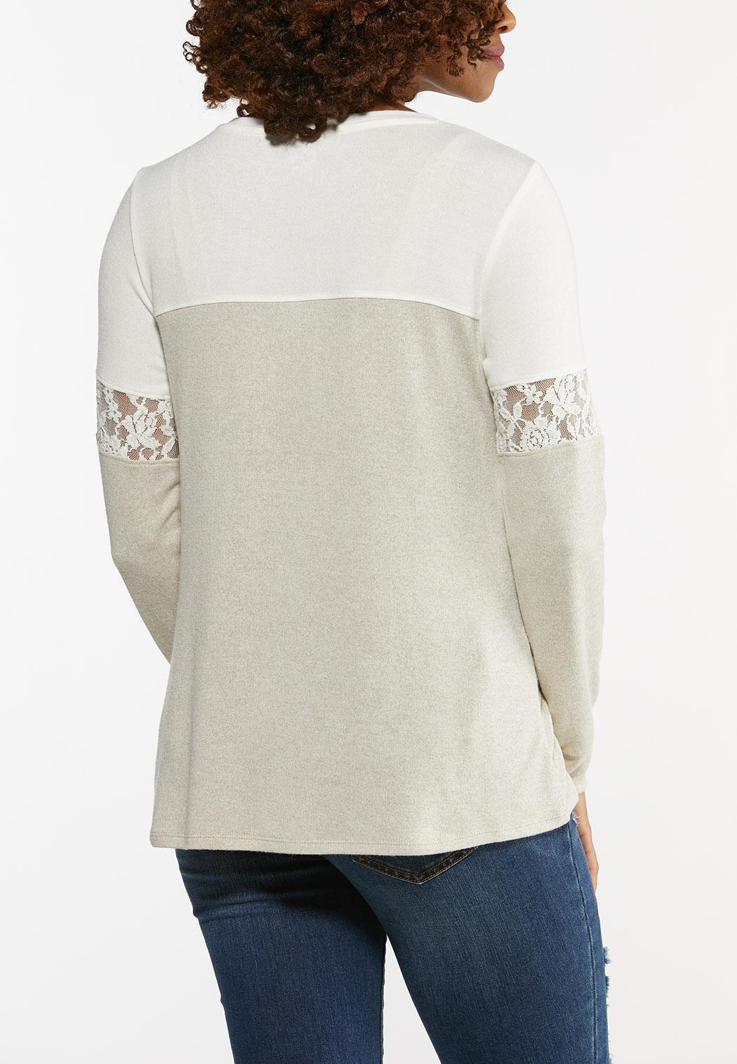 Plus Size Faith Lace Sleeve Top (Item #44473308)