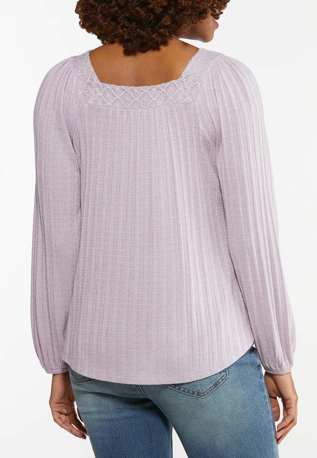 Plus Size Lace Trim Button Front Top (Item #44473420)