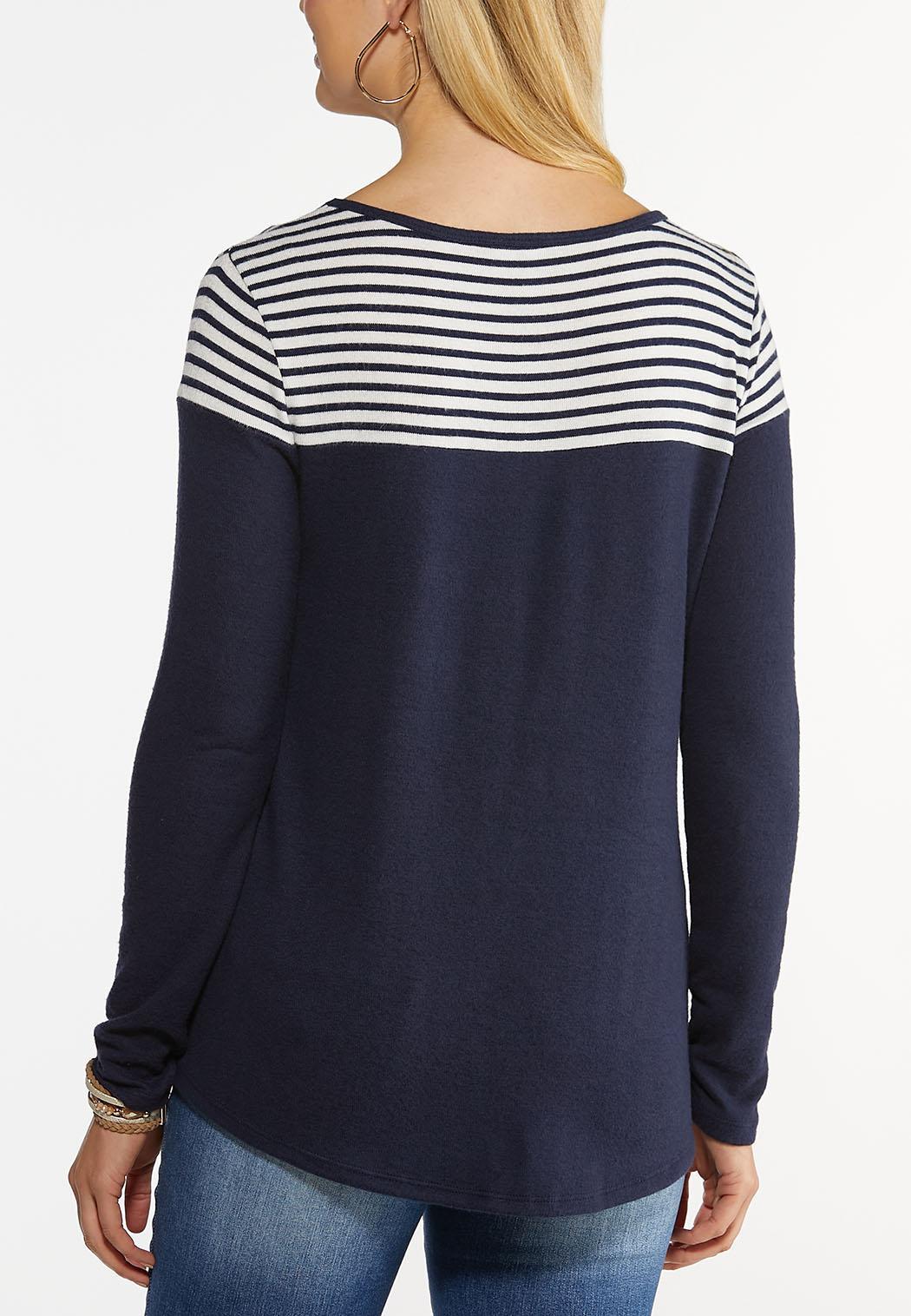 Plus Size Colorblock Stripe Hacci Top (Item #44474773)