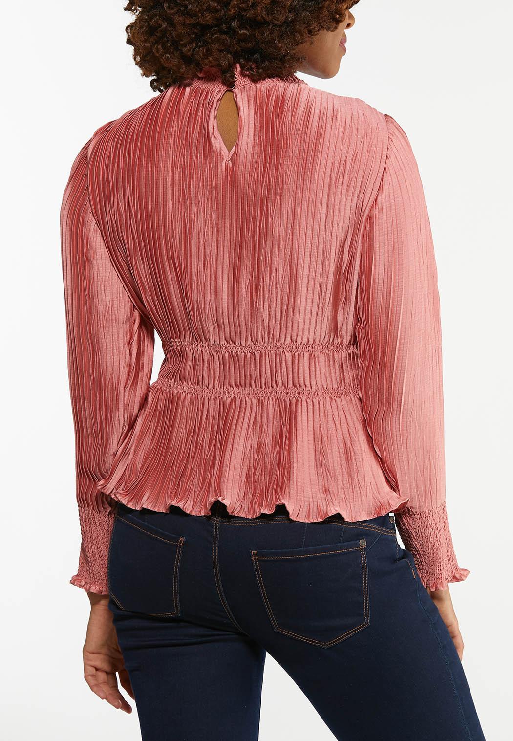 Plus Size Pleated Satin Rose Top (Item #44475052)