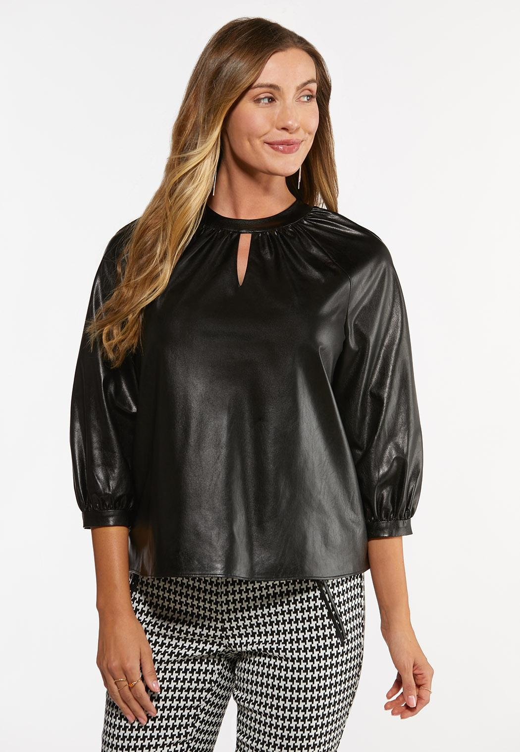 Faux Leather Keyhole Top (Item #44475183)
