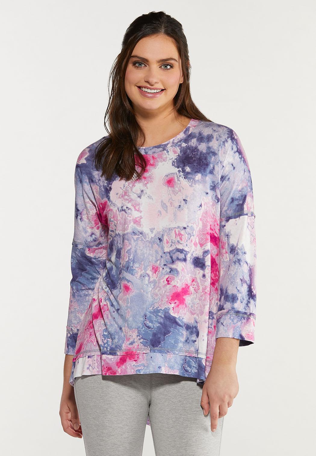 Plus Size Tie Dye Spandex Top (Item #44475513)