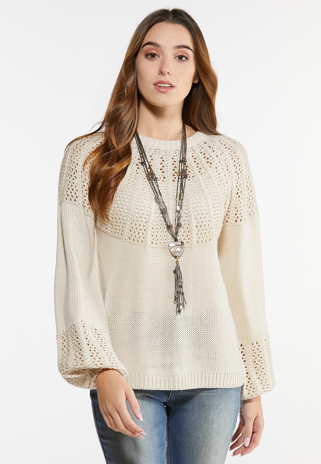 Plus Size Oatmeal Mixed Stitch Sweater (Item #44475615)
