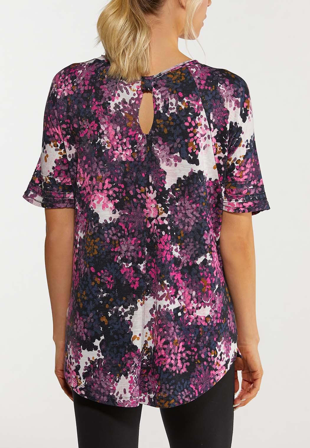 Plus Size Grape Floral Active Top (Item #44475622)