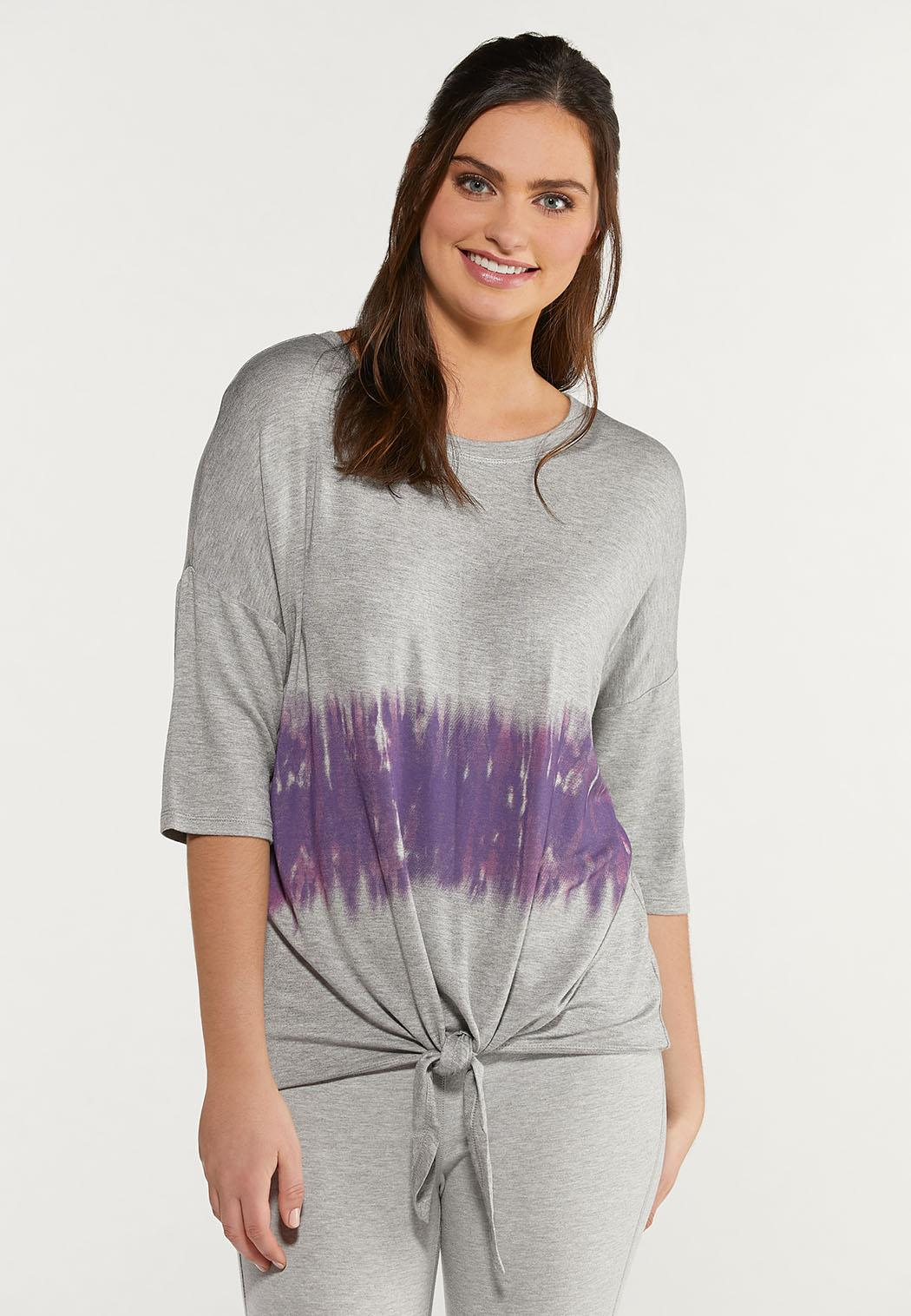 Plus Size Tied Tie Dye Top (Item #44475699)