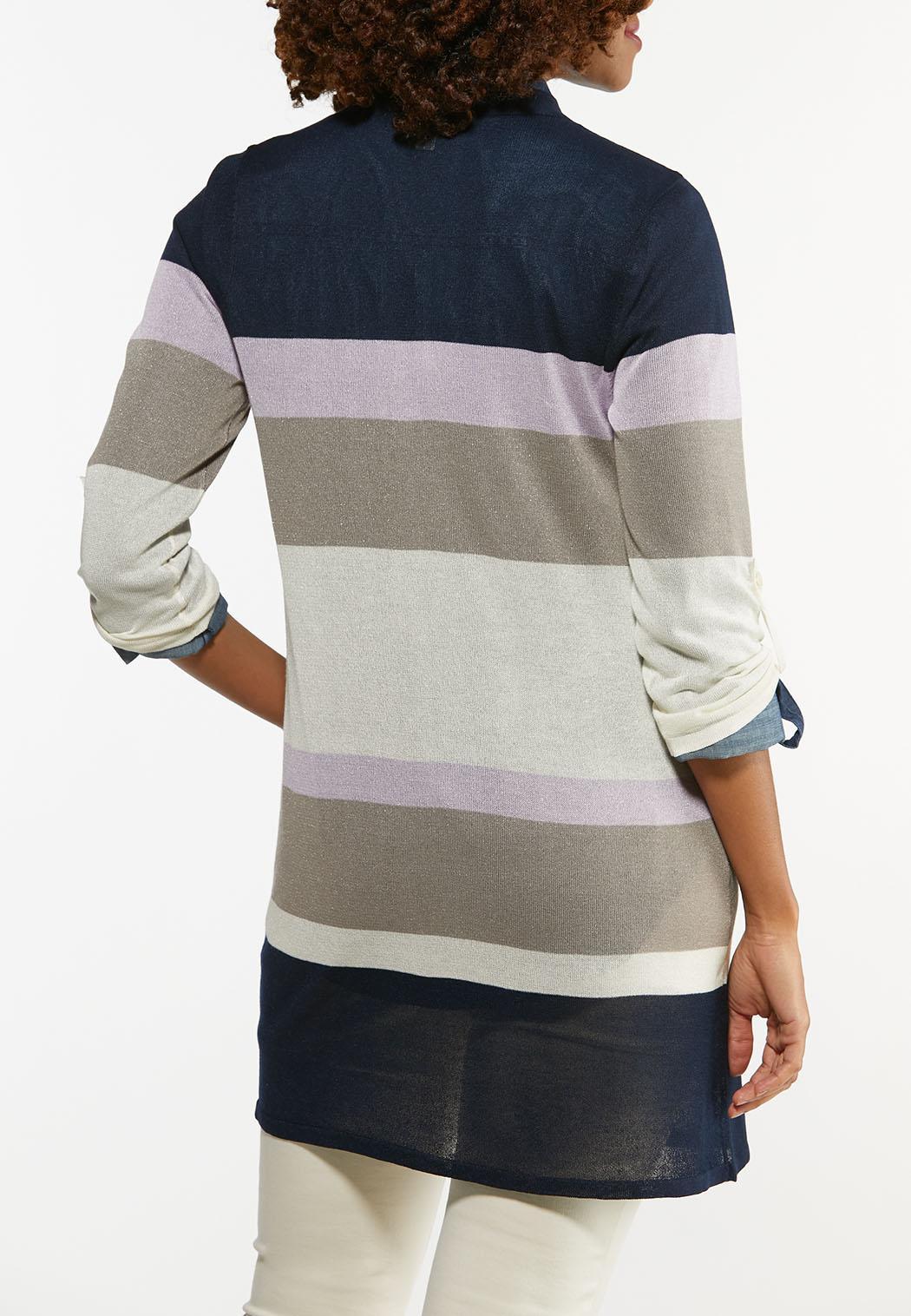 Plus Size Striped Sheer Cardigan (Item #44475804)