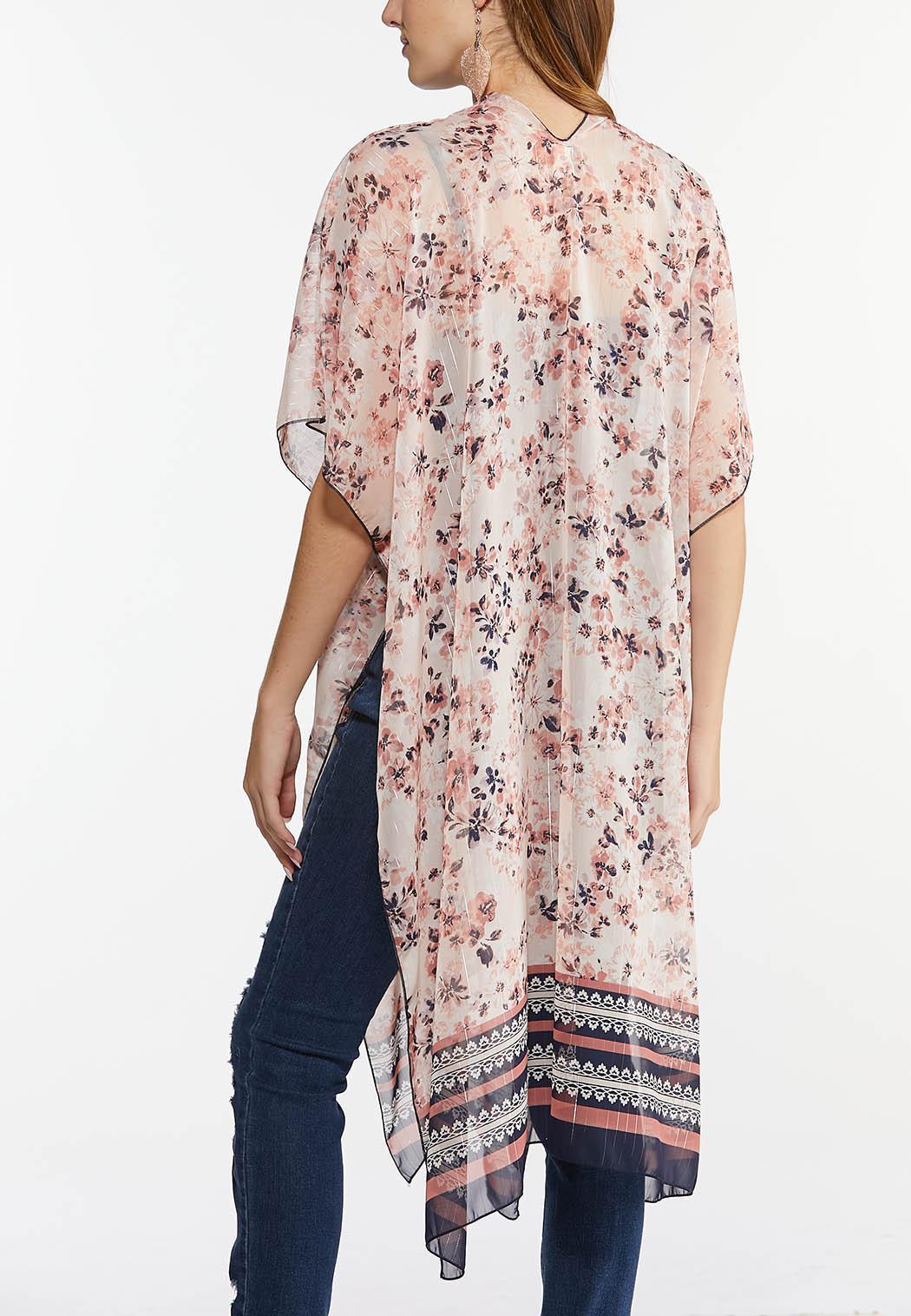 Metallic Thread Floral Kimono (Item #44476036)